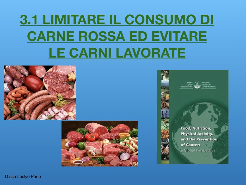 Limitare la carne rossa per la prevenzione oncologica